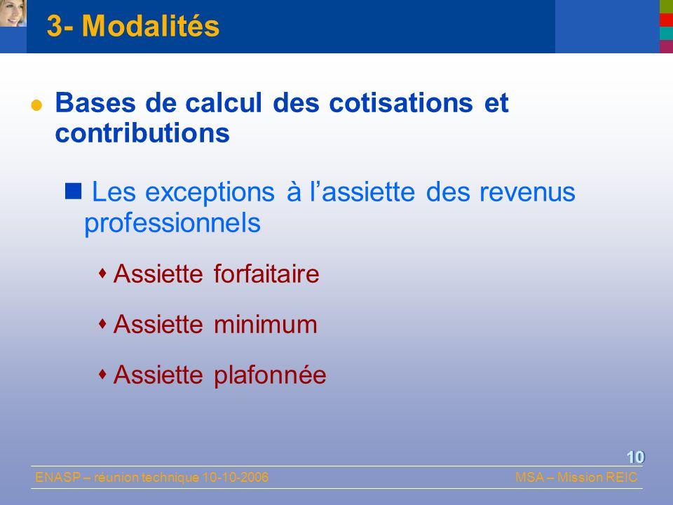 3- Modalités Bases de calcul des cotisations et contributions