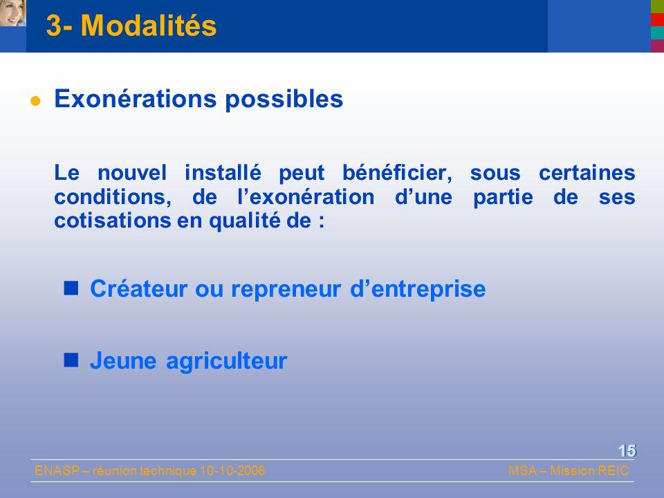 3- Modalités Exonérations possibles Créateur ou repreneur d'entreprise