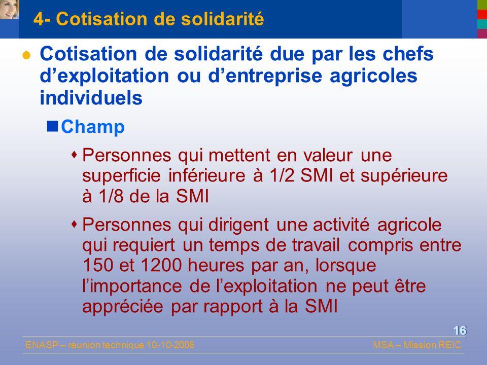 4- Cotisation de solidarité