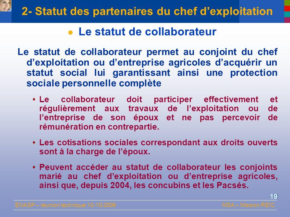 2- Statut des partenaires du chef d'exploitation