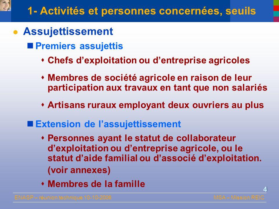 1- Activités et personnes concernées, seuils