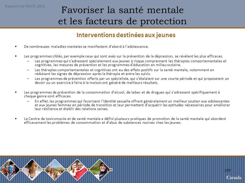 Favoriser la santé mentale et les facteurs de protection