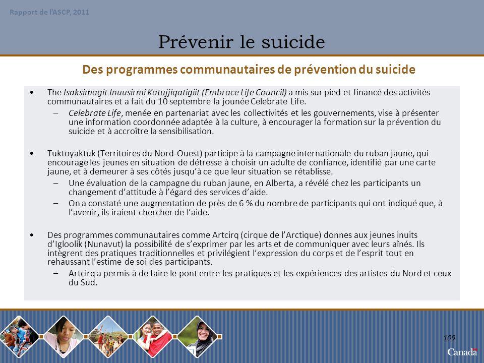 Des programmes communautaires de prévention du suicide