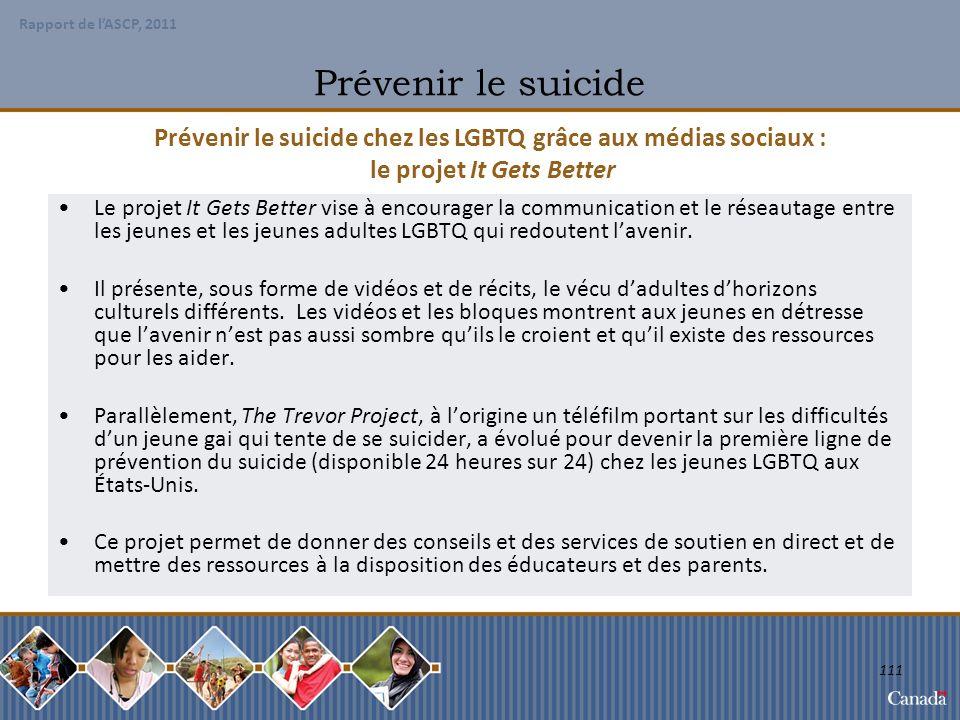 Prévenir le suicide Prévenir le suicide chez les LGBTQ grâce aux médias sociaux : le projet It Gets Better.