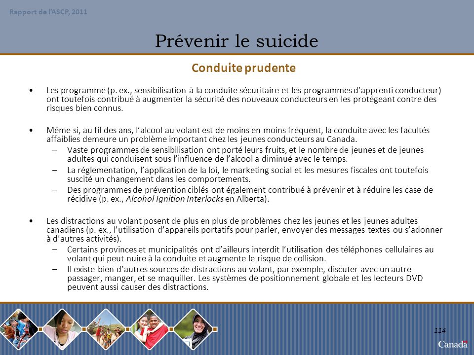 Prévenir le suicide Conduite prudente