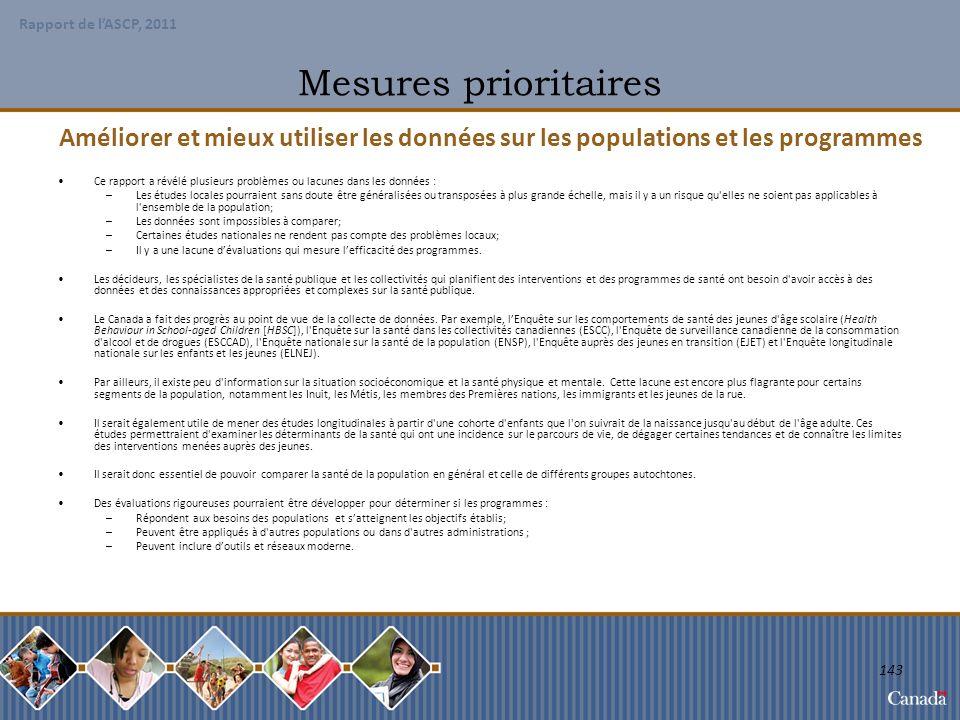 Mesures prioritaires Améliorer et mieux utiliser les données sur les populations et les programmes.