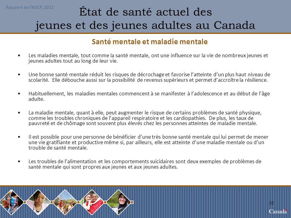 État de santé actuel des jeunes et des jeunes adultes au Canada