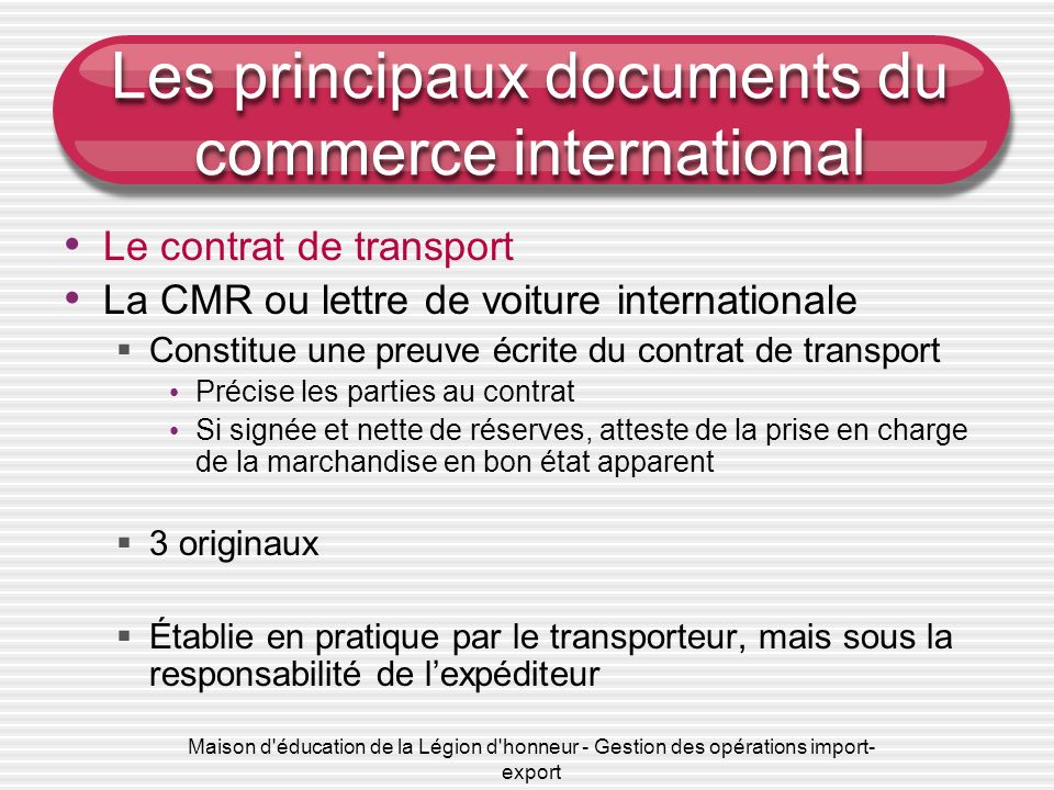 Les principaux documents du commerce international