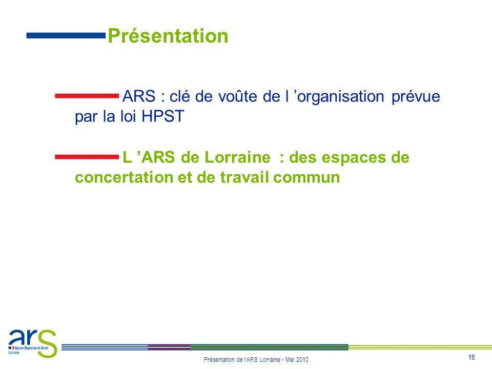 Présentation ARS : clé de voûte de l 'organisation prévue par la loi HPST.
