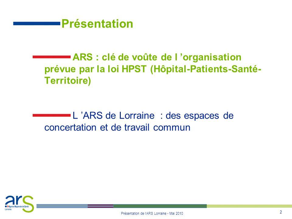 Présentation ARS : clé de voûte de l 'organisation prévue par la loi HPST (Hôpital-Patients-Santé-Territoire)