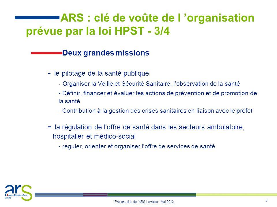 ARS : clé de voûte de l 'organisation prévue par la loi HPST - 3/4