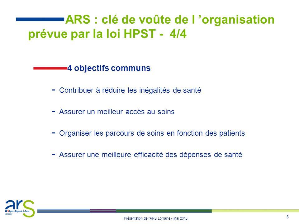 ARS : clé de voûte de l 'organisation prévue par la loi HPST - 4/4