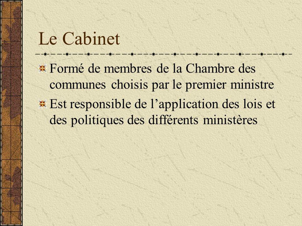 Le Cabinet Formé de membres de la Chambre des communes choisis par le premier ministre.