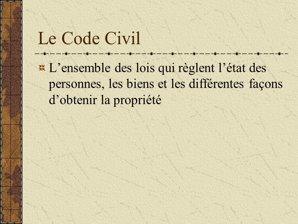 Le Code Civil L'ensemble des lois qui règlent l'état des personnes, les biens et les différentes façons d'obtenir la propriété.