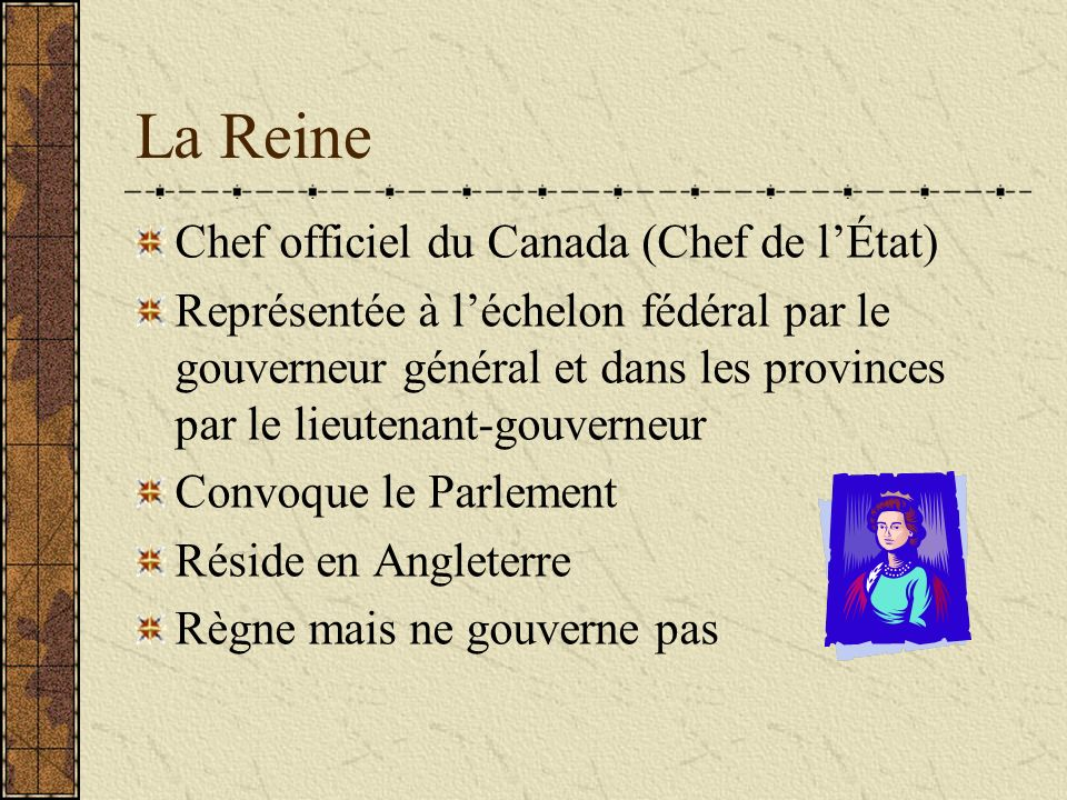 La Reine Chef officiel du Canada (Chef de l'État)