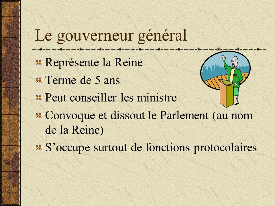 Le gouverneur général Représente la Reine Terme de 5 ans