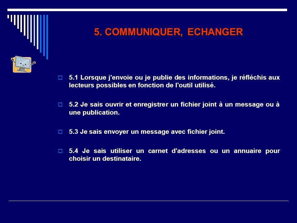 5. COMMUNIQUER, ECHANGER 5.1 Lorsque j envoie ou je publie des informations, je réfléchis aux lecteurs possibles en fonction de l outil utilisé.