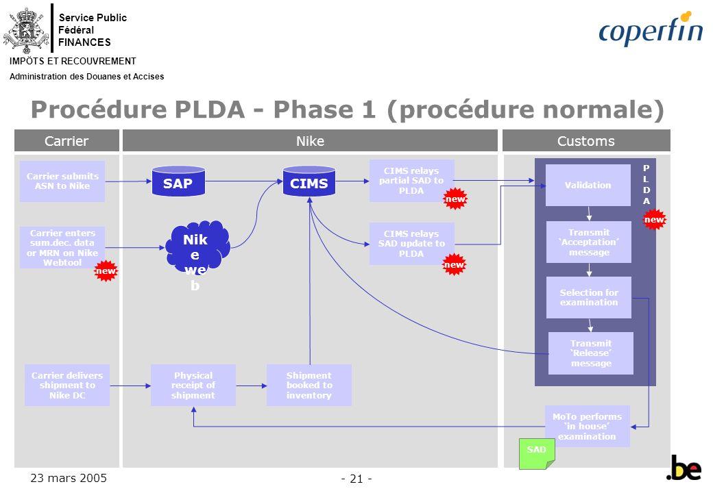 Procédure PLDA - Phase 1 (procédure normale)