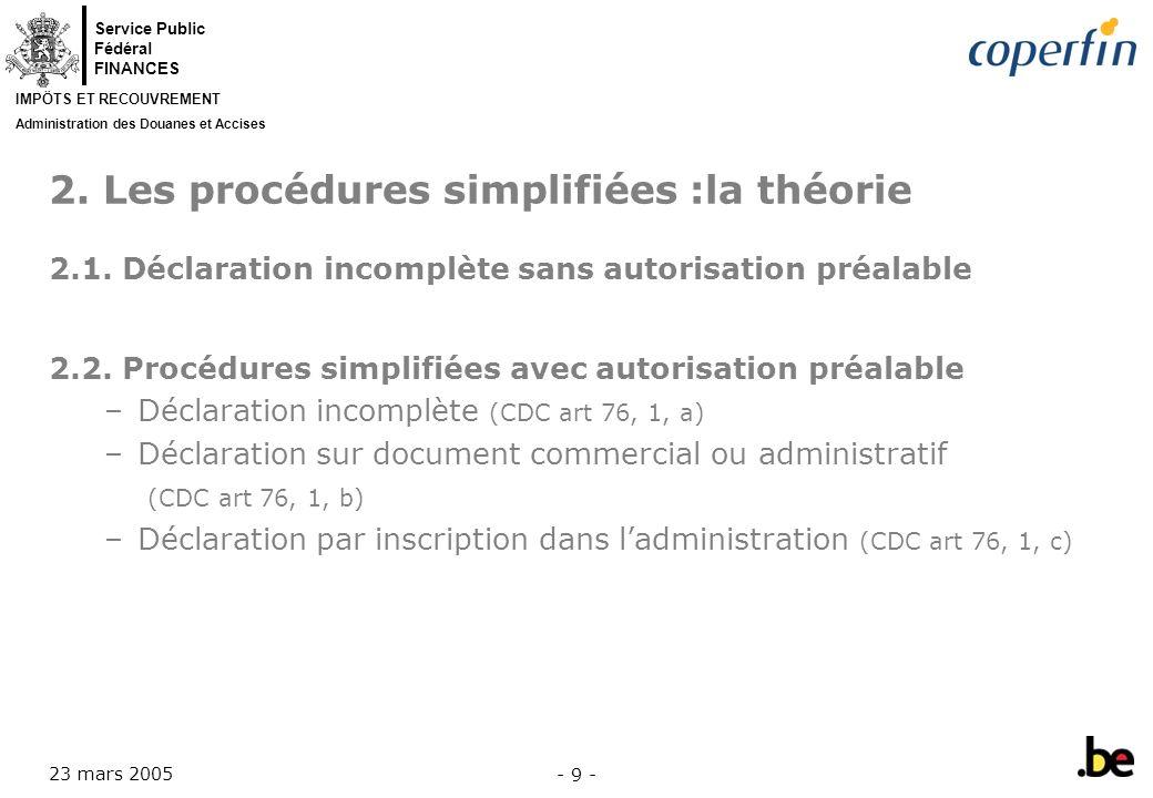 2. Les procédures simplifiées :la théorie