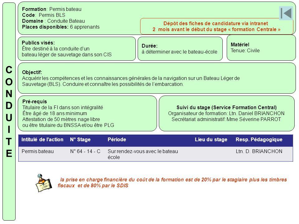 C O N D U I T E Formation: Permis bateau Code: Permis BLS