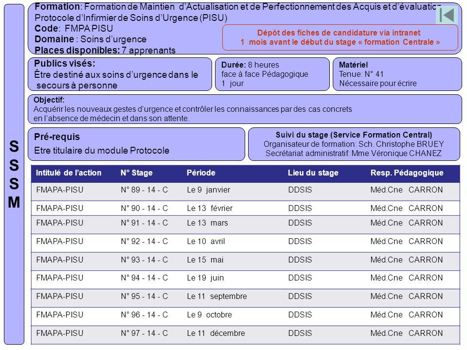 S S S M Formation: Formation de Maintien d'Actualisation et de Perfectionnement des Acquis et d'évaluation.