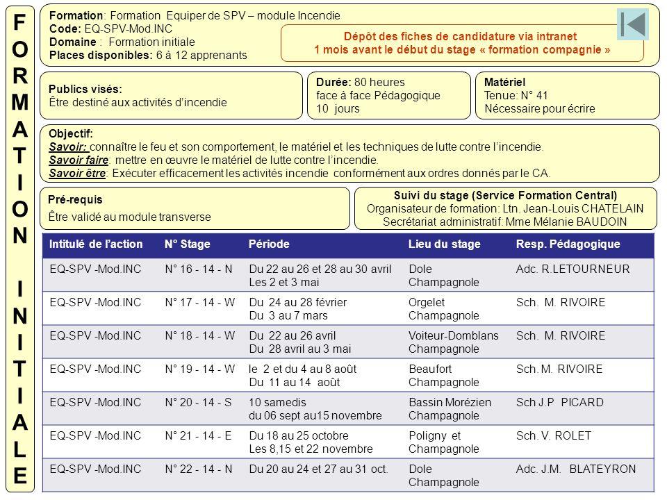 F O. R. M. A. T. I. N. L. E. Formation: Formation Equiper de SPV – module Incendie. Code: EQ-SPV-Mod.INC.