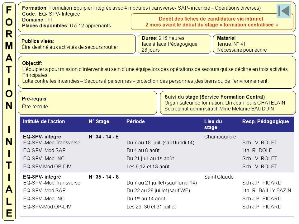 F O. R. M. A. T. I. N. L. E. Formation: Formation Equipier Intégrée avec 4 modules ( transverse- SAP- incendie – Opérations diverses)