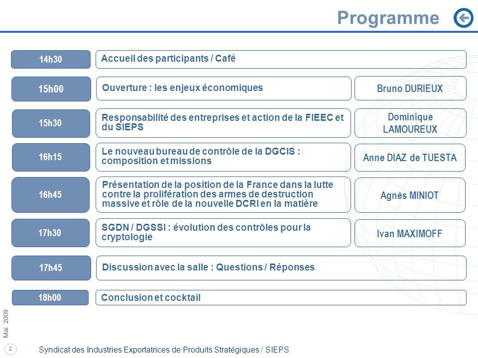Programme 15h00 Bruno DURIEUX Dominique LAMOUREUX Anne DIAZ de TUESTA