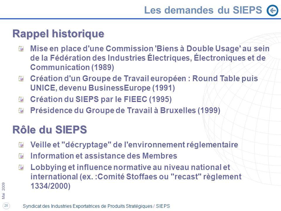 Rappel historique Rôle du SIEPS Les demandes du SIEPS