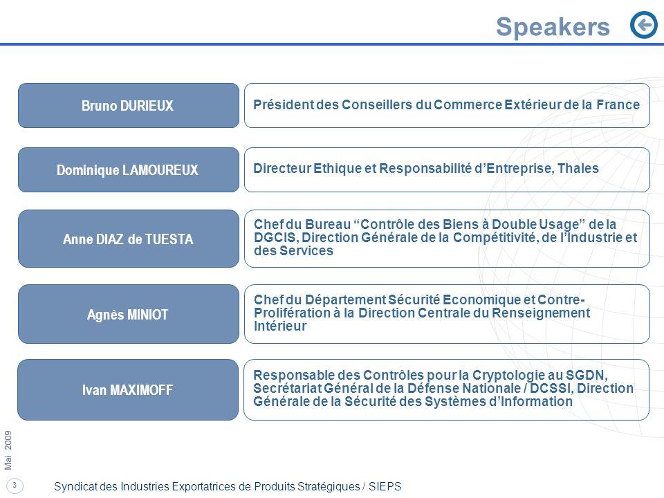 Speakers Bruno DURIEUX Dominique LAMOUREUX Anne DIAZ de TUESTA