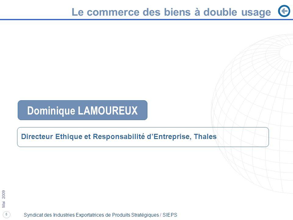 Dominique LAMOUREUX Le commerce des biens à double usage