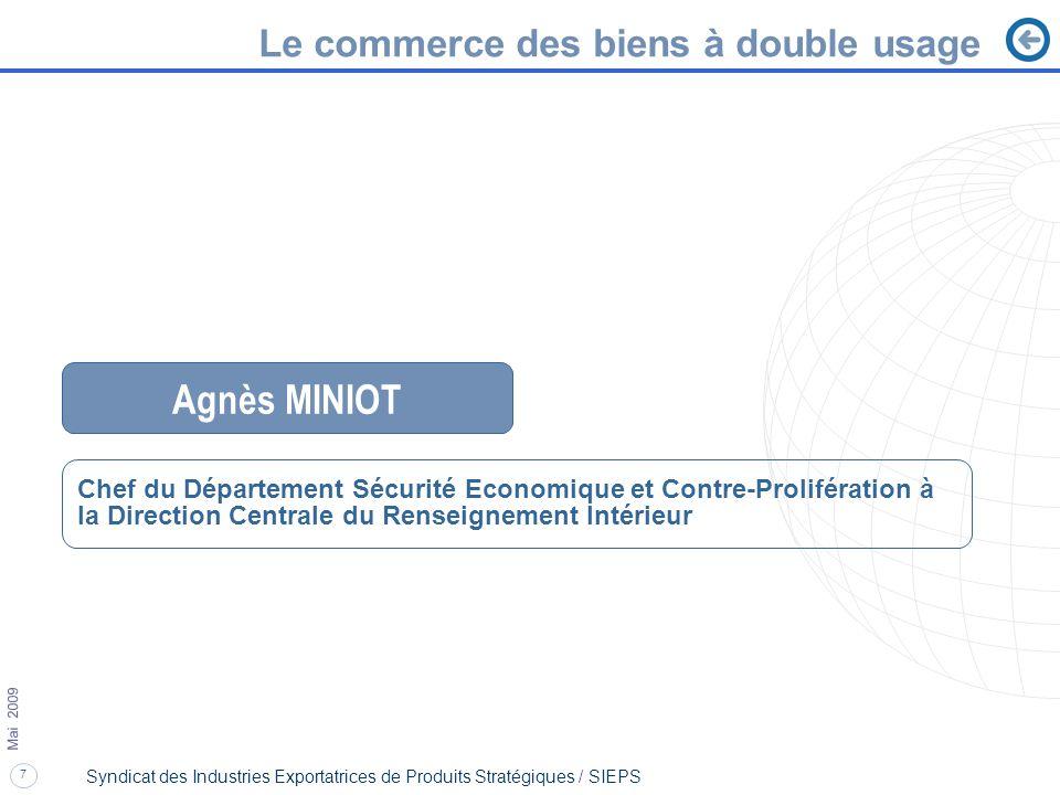 Agnès MINIOT Le commerce des biens à double usage
