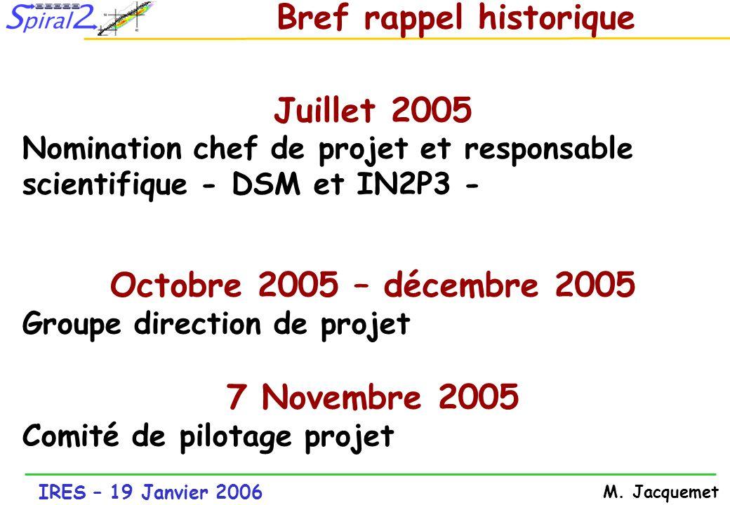 Juillet 2005 Octobre 2005 – décembre 2005 7 Novembre 2005