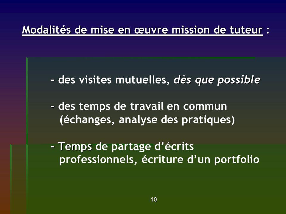 Modalités de mise en œuvre mission de tuteur :