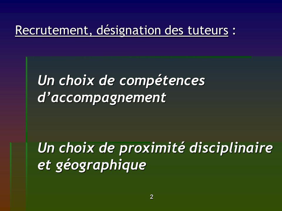 Recrutement, désignation des tuteurs : Un choix de compétences d'accompagnement Un choix de proximité disciplinaire et géographique