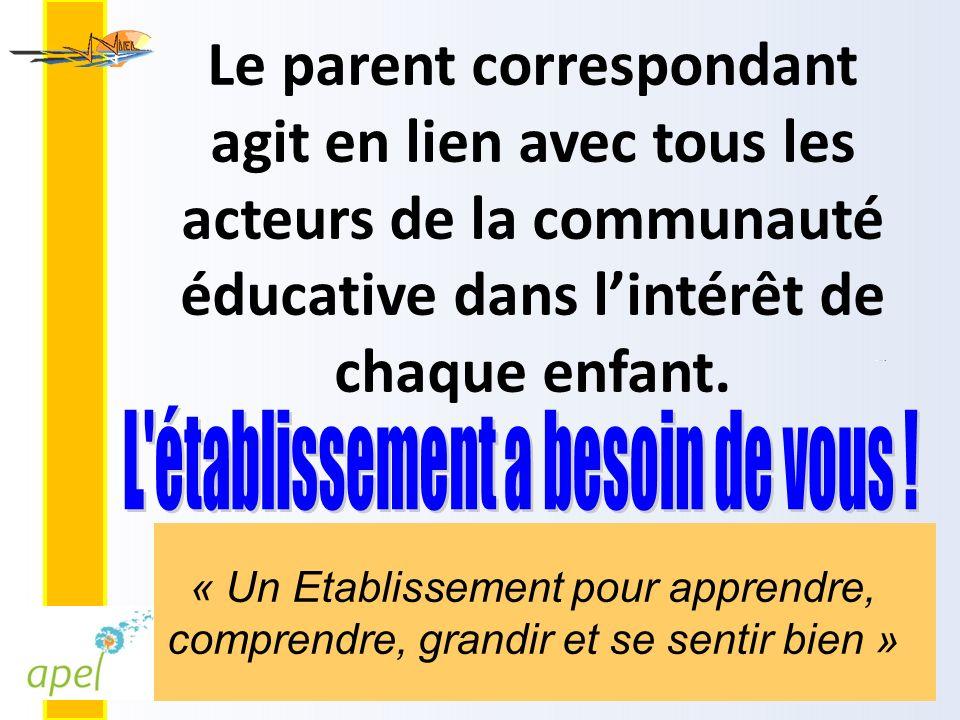 Le parent correspondant agit en lien avec tous les acteurs de la communauté éducative dans l'intérêt de chaque enfant.
