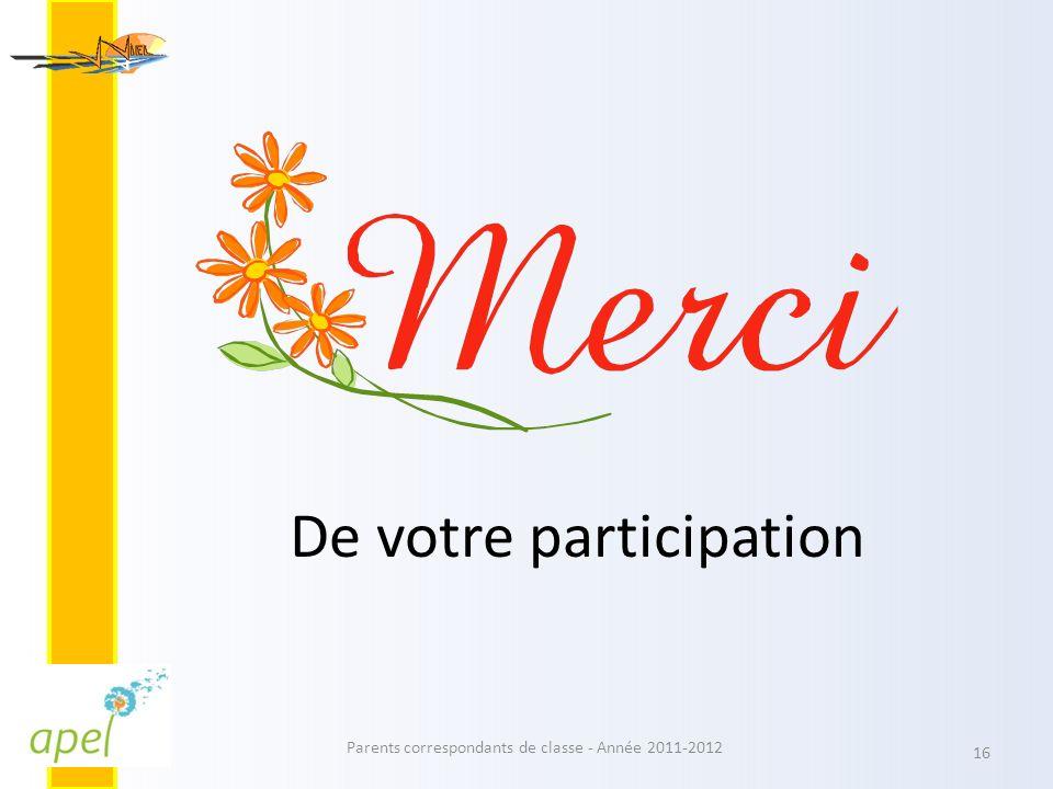 De votre participation