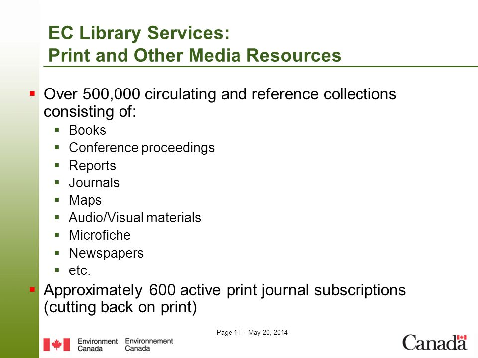 EC Library Services: Print and Other Media Resources
