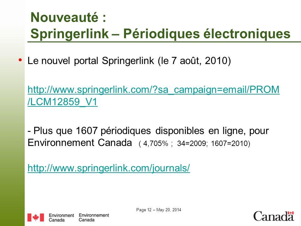 Nouveauté : Springerlink – Périodiques électroniques