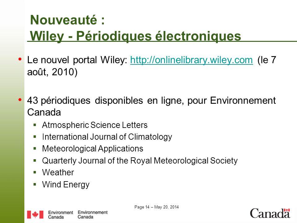Nouveauté : Wiley - Périodiques électroniques