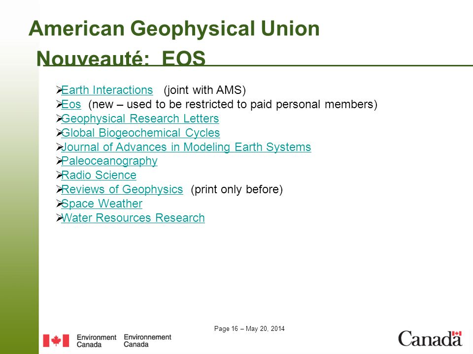 American Geophysical Union Nouveauté: EOS