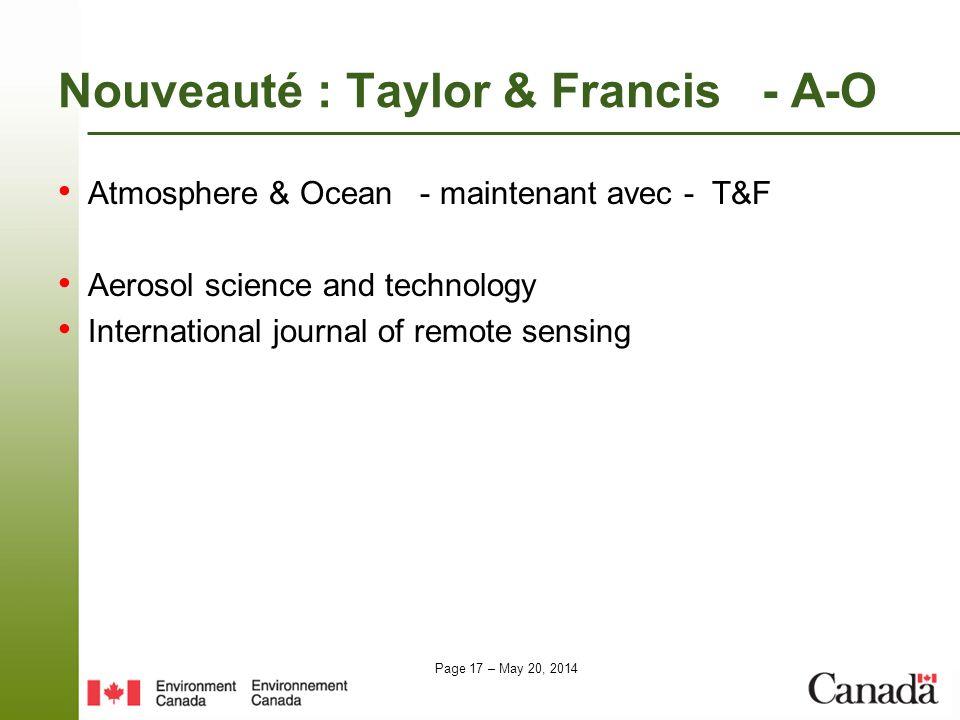 Nouveauté : Taylor & Francis - A-O