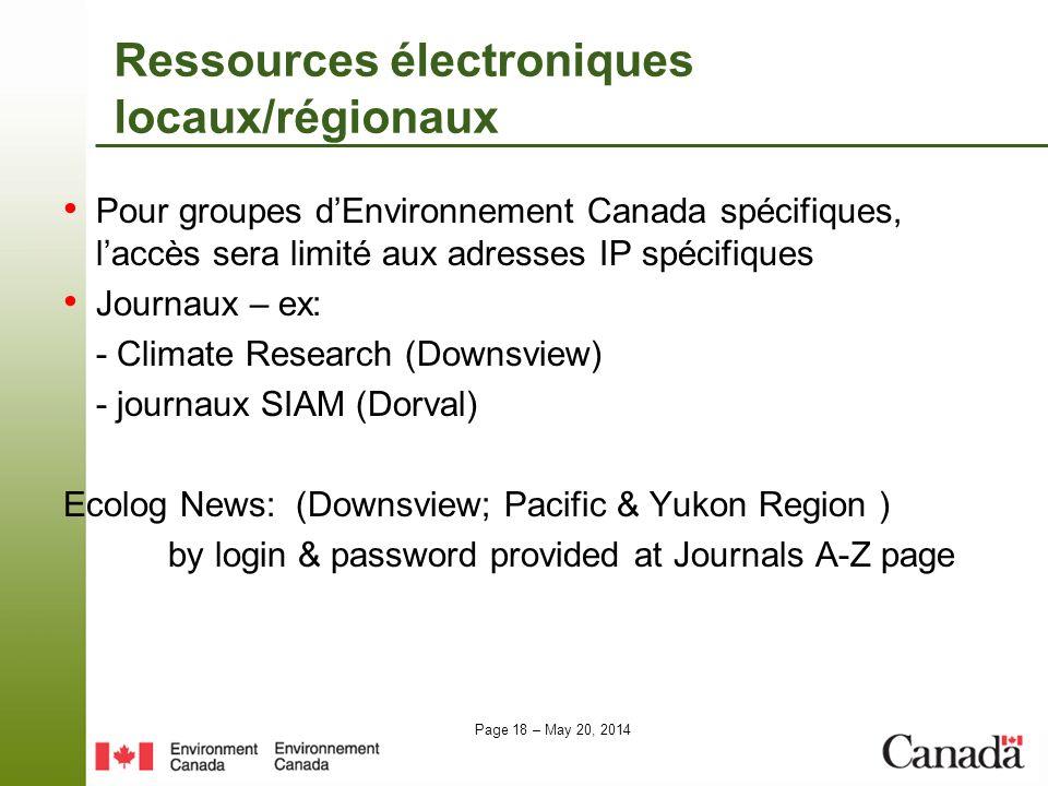 Ressources électroniques locaux/régionaux