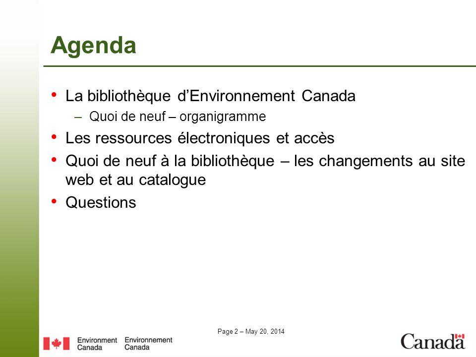 Agenda La bibliothèque d'Environnement Canada