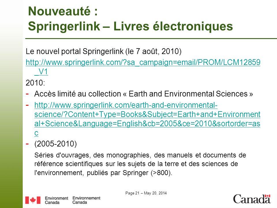 Nouveauté : Springerlink – Livres électroniques