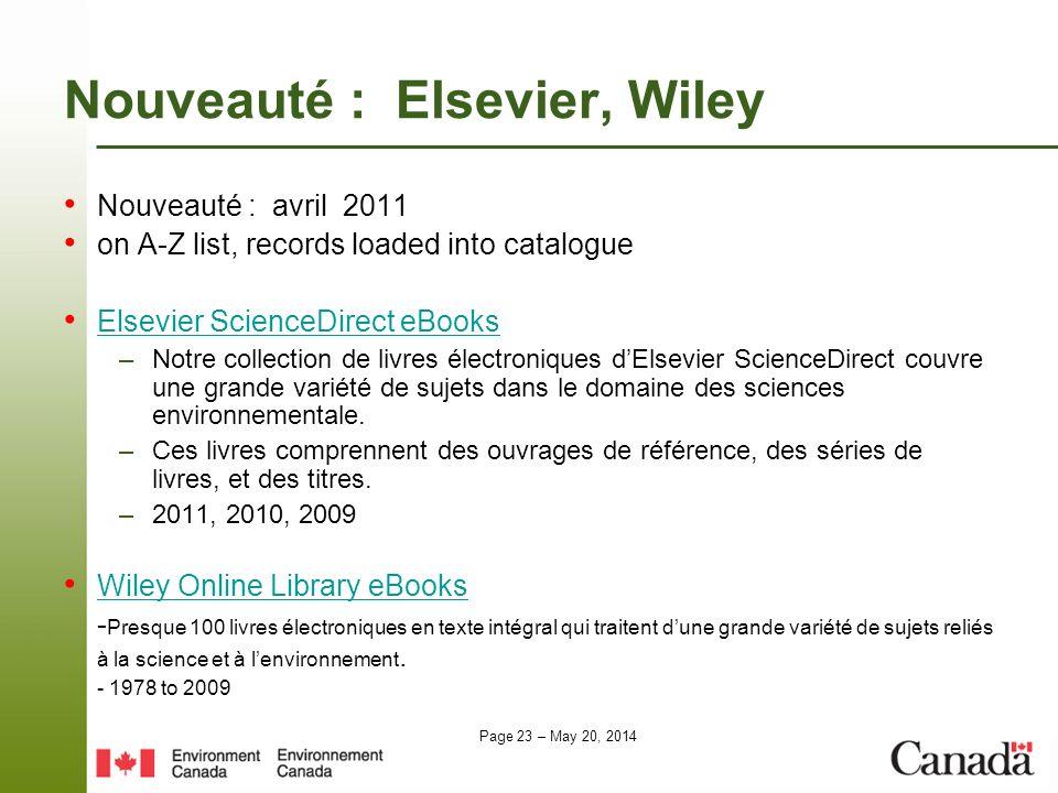 Nouveauté : Elsevier, Wiley