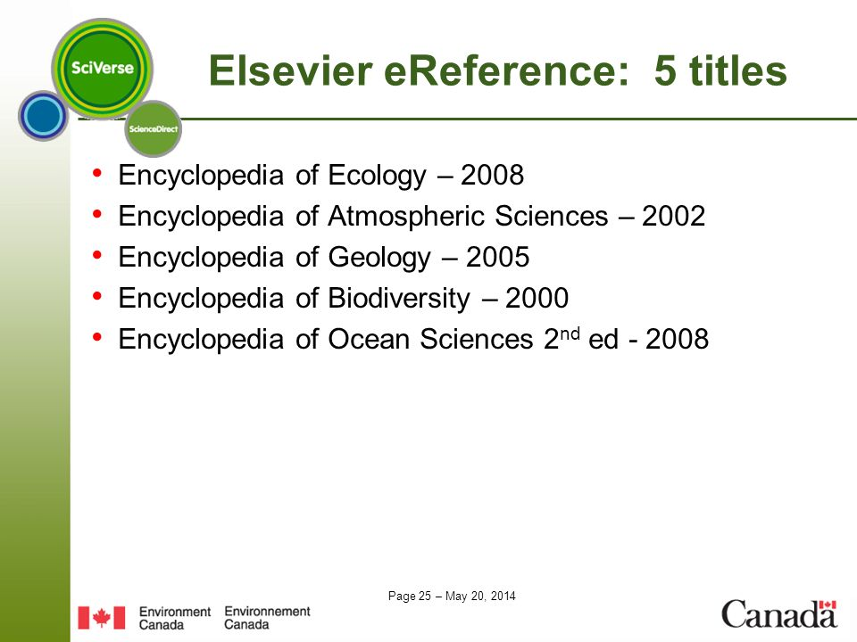 Elsevier eReference: 5 titles