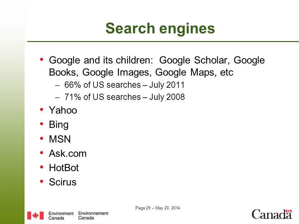 Search engines Google and its children: Google Scholar, Google Books, Google Images, Google Maps, etc.