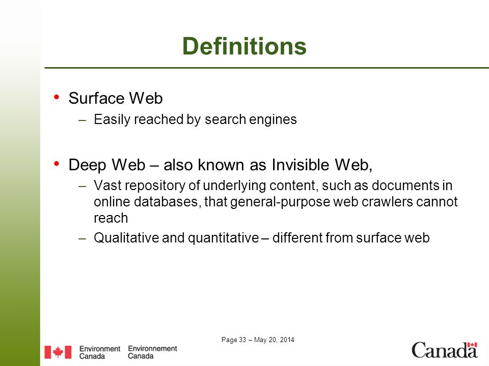 Definitions Surface Web Deep Web – also known as Invisible Web,