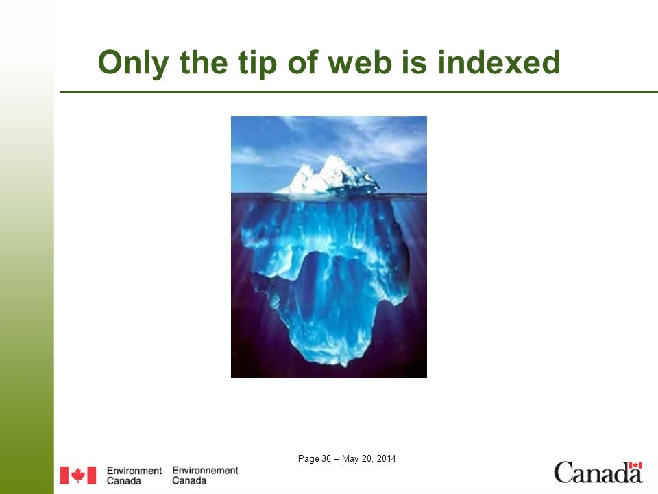 Only the tip of web is indexed